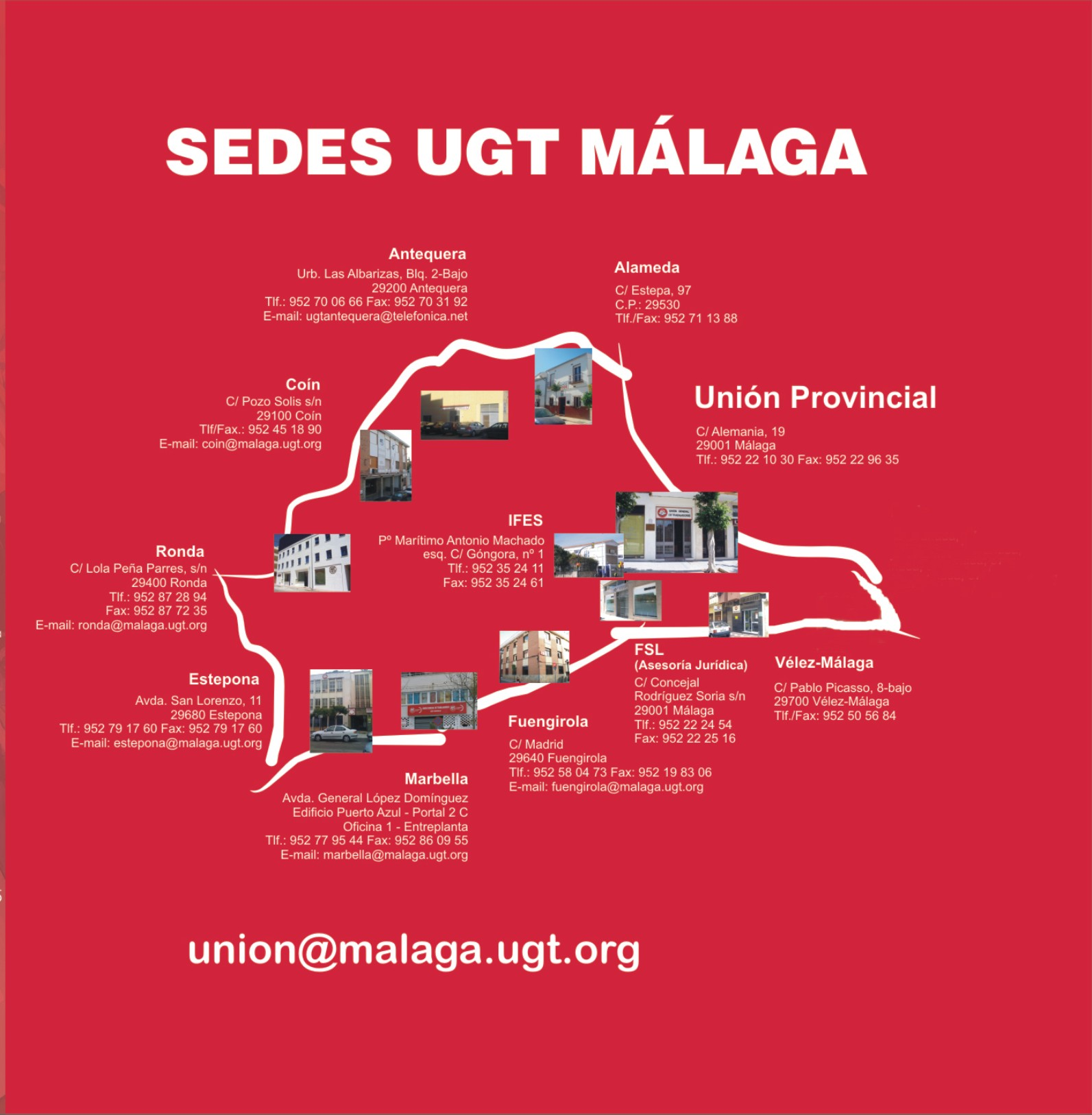 Encuentra nuestras sedes ugt andaluc a for Guia telefonica malaga
